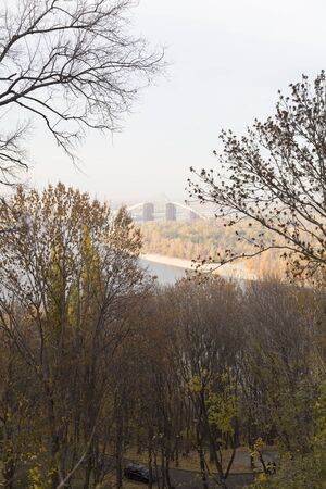 Panoramic view of the city of Kiev. In the center of the railway bridge, which is under construction.