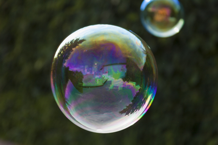 whiff: Rainbow soap bubbles on green blurred background.