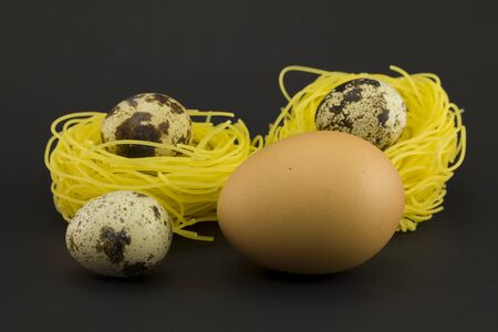 quail nest: Thin pasta in a form of nest with quail and chicken eggs on a dark background.