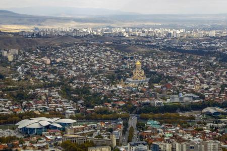 Panorama of Tbilisi, Georgia, aerial view. Stock Photo