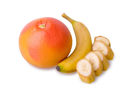 grapefruit and sliced banana photo