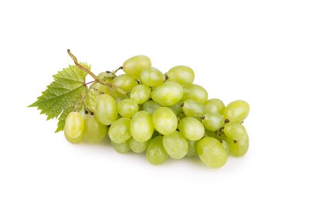 bacchus: bunch of green grapes on a white surface Stock Photo