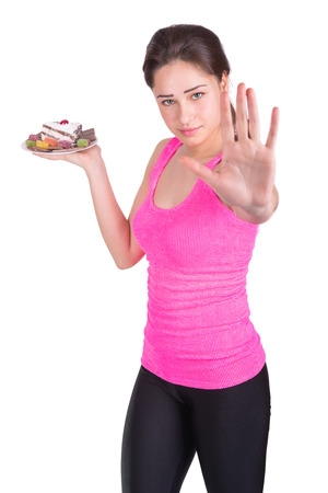 beautiful sports girl prohibits eating sweet
