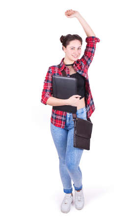 arm raised: happy girl student with arm raised isolated