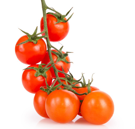 upraised: ripe cherry tomatoes on a white background upraised