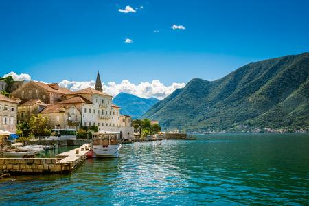 Harbour in Perast at Boka Kotor bay (Boka Kotorska), Montenegro, Europe.