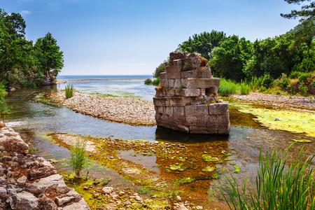 antik: Ruins of ancient greek and roman ancient city of Olympos near Antalya Turkey