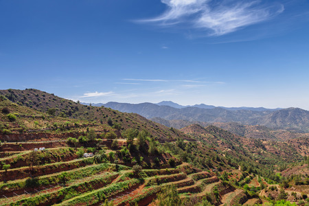 Panoramic view near of Kato Lefkara - is the most famous village in the Troodos Mountains. Limassol district, Cyprus, Mediterranean Sea. Mountain landscape and sunny day. Standard-Bild