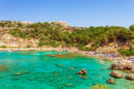 Sea skyview landscape photo Anthony Quinn bay near Ladiko bay on Rhodes island, Dodecanese, Greece. Panorama with nice sand beach and clear blue water. Famous tourist destination in South Europe Stock fotó