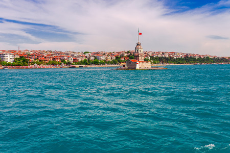 Panoramic view of Istanbul. Panorama cityscape of famous tourist destination Bosphorus strait channel. Travel landscape Bosporus, Turkey, Europe and Asia. Stock Photo