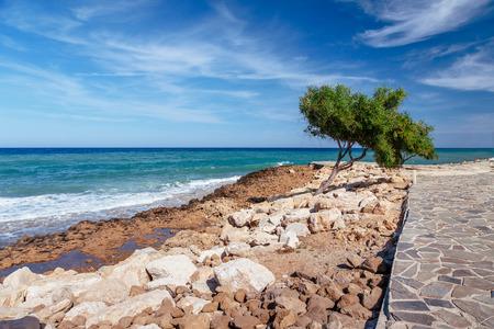 Beautiful panoramic sea view on Ayia Napa near of Cavo Greco, Cyprus island, Mediterranean Sea. Amazing blue green sea and sunny day.
