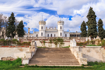 Old gothic castle Sharovka in Kharkiv region, Ukraine. Sharovka fort is famous tourist destination, it was created by landowner Ol'hovski.