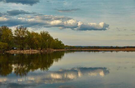 volga: Beautiful Volga landscape, clouds are reflected in water
