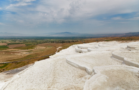carbonates: Beautiful landscape in Pamukkale, the sky with clouds, fields and mountains