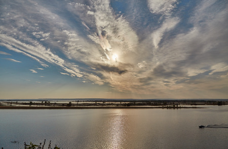volga river: Heavenly landscape and solar path in the Volga River Stock Photo