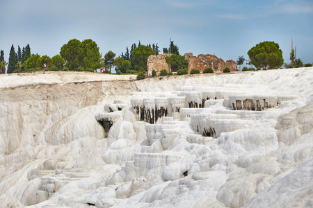 carbonates: Accumulated forms of limestone on rocks in Pamukkale Stock Photo
