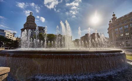 central square: Fountain in Plaza Catalunya - Barcelonas central square.
