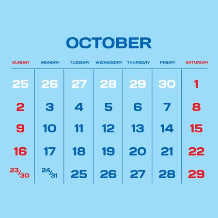 gamma: Calendar vector template 2016 in a blue, white and red gamma.