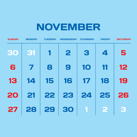 gamma: Calendar vector template 2016 in a blue, white and red gamma.