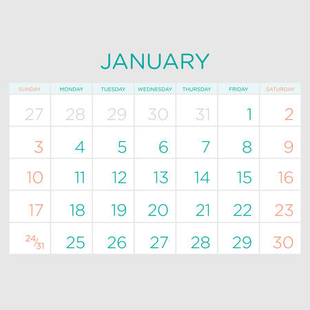 gamma: Calendar vector template 2016 in a green and grey gamma.