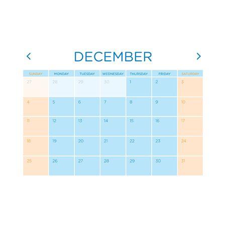 gamma: Calendar vector template 2016 in a blue and orange gamma design.