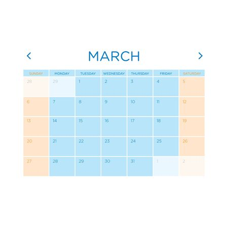 gamma: Calendar vector template 2016 in a blue and orange gamma design.