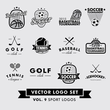 baloncesto: Retro Hipster Vintage Sport Vector Set. Béisbol, tenis, fútbol, ??fútbol, ??golf, hockey sobre hielo y baloncesto. Vectores