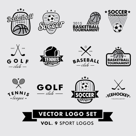 basketball: Retro Vintage Hipster Sport Vector Set. Baseball, tennis, soccer, football, golf, ice hockey and basketball. Illustration