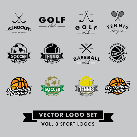 hockey: Retro Vintage Hipster Sport Vector Set. Baseball, tennis, soccer, football, golf, icehockey and basketball. Illustration