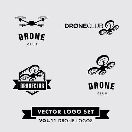 drone: Drone Vector Set with a drone silhoette. Illustration