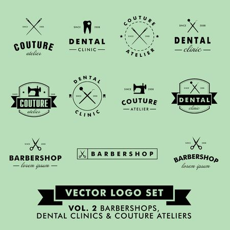 sewing machine: Retro Vintage Hipster Barbershop, Couture Atelier and Dental Clinic Vector Set