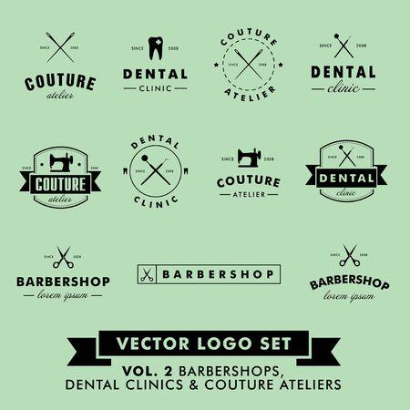 maquina de coser: Vintage Retro Hipster barbería, Couture Atelier y Dental Clinic Vector Set Vectores