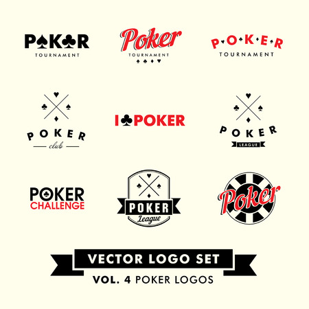 cards poker: Retro Vintage Hipster Poker Vector Logo Set with chips. Illustration