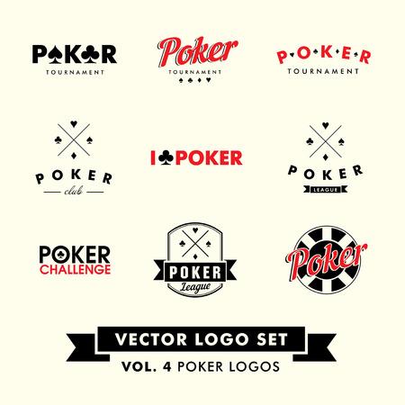 cartas de poker: Vintage Retro Hipster Poker Vector Logo Establecer con patatas fritas. Vectores