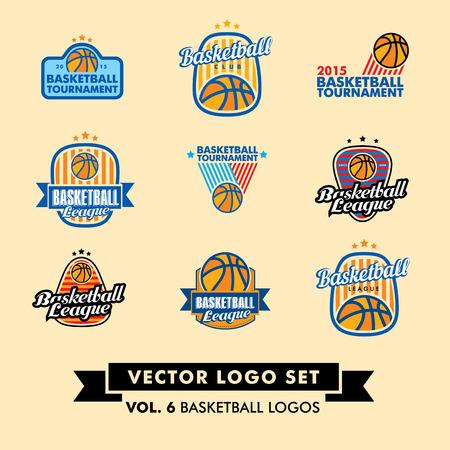team sports: Baloncesto Vector Logo Establecer con pelotas de baloncesto.