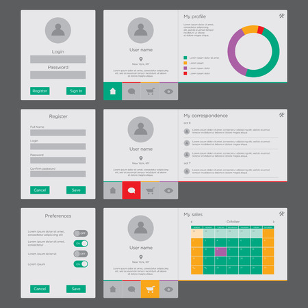 login: UI and UX vector kit for website and mobile app design