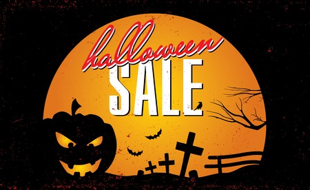 Halloween sale vector template with pumpkin and moon Illustration
