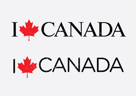 i love canada: I Love Canada Vector Template with a Canada crest.
