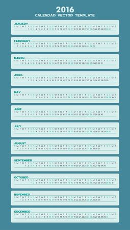 gamma: Calendar vector template 2016 in a blue and green gamma.