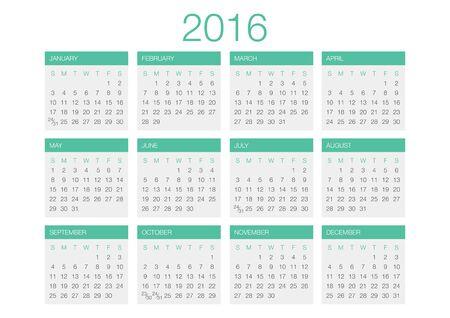 Calendar vector template 2016 in a grey and green gamma.