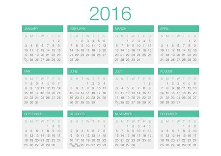 calendar: Calendar vector template 2016 in a grey and green gamma.