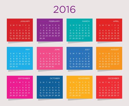 gamma: Calendar vector template 2016 on a multicolor background gamma.