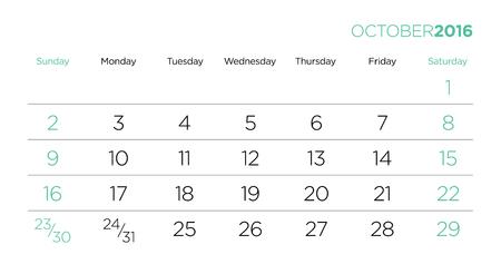 październik: Vector design template for the caledar pages 2016. October.