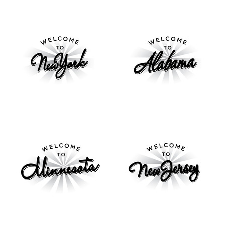 caligraphy: Vector Template for US States Invitation or Postcard