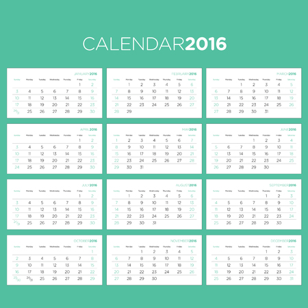 calendar: Vector Template for the Calendar Pages 2016 Illustration
