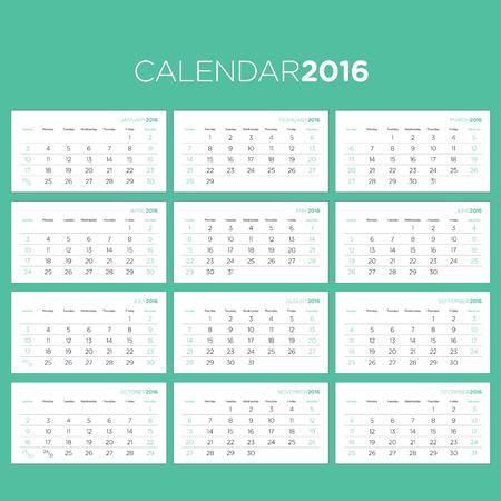calendrier: Vector Template pour le calendrier 2016 Pages