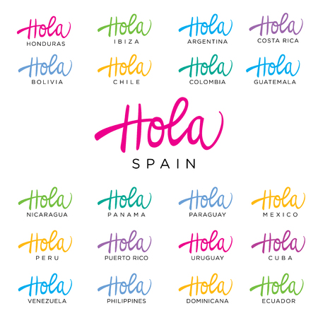 hola: Hola Lettering Word for a tourist greeting card for many countries