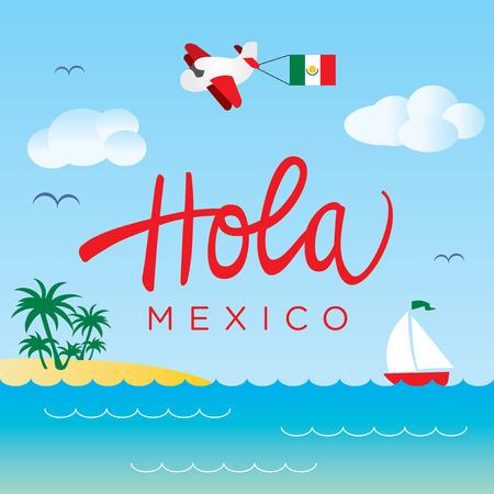 mexico beach: Mexico Sea Landscape Vector Design for travel card