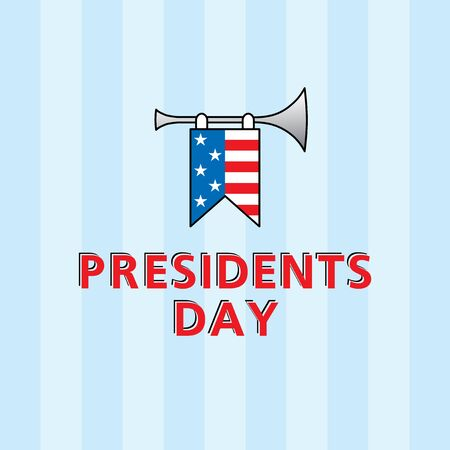 presidents: Vector template for Presidents Day with american flag
