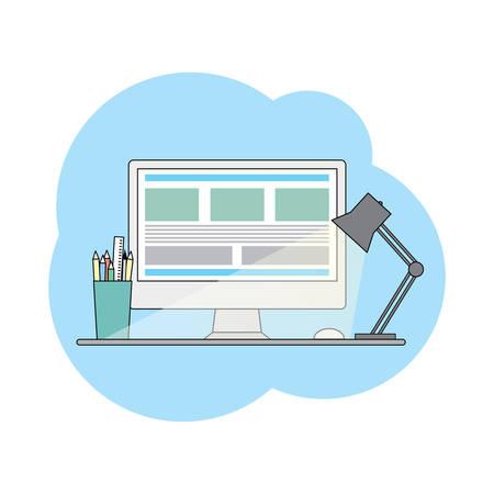 web template: Web flat design template illustration for site